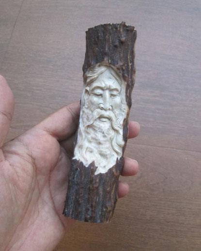 Mountain Man Bone Knife Handle Carving In Antler