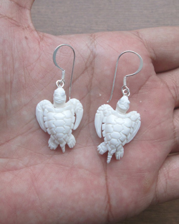 Sea Turtle Carved Bone Earring For Wholesale