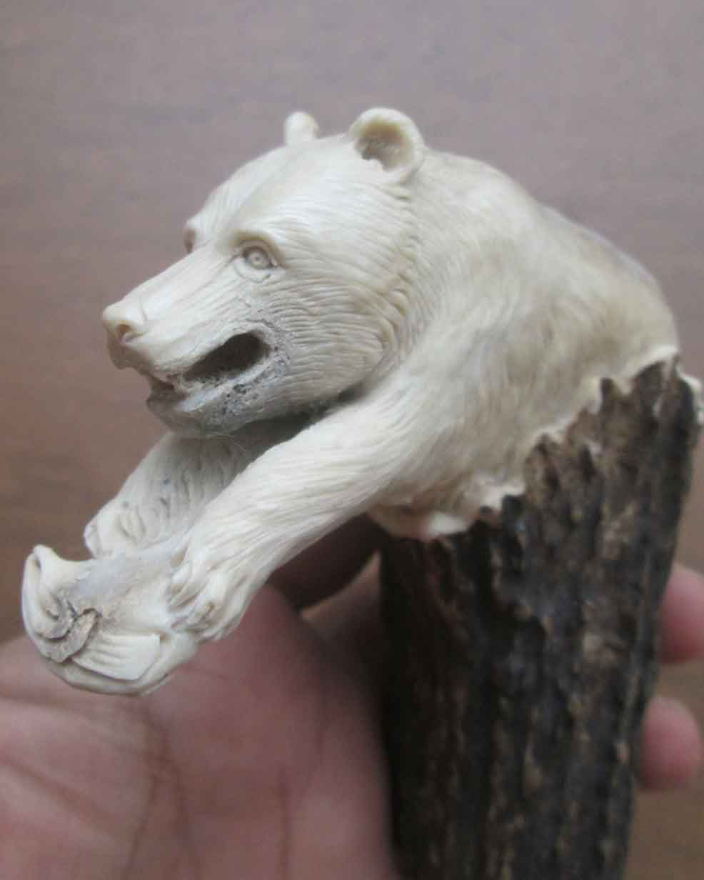 Bear Head Bone Knife Handle Carving from Antler