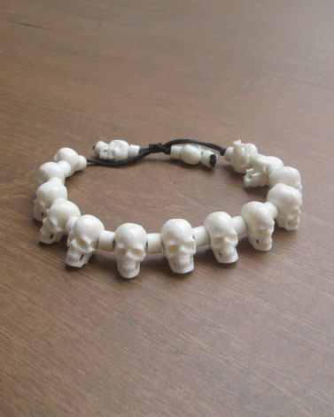 Carved Skull Bracelet from Buffalo Bone