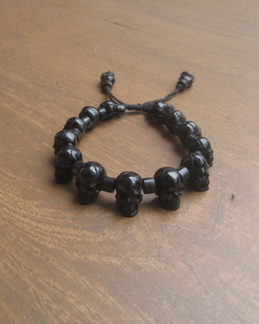 Carved Skull Bracelet from Buffalo Horn
