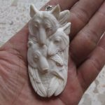 Wolf Bear Eagle Carved Bone Pendant