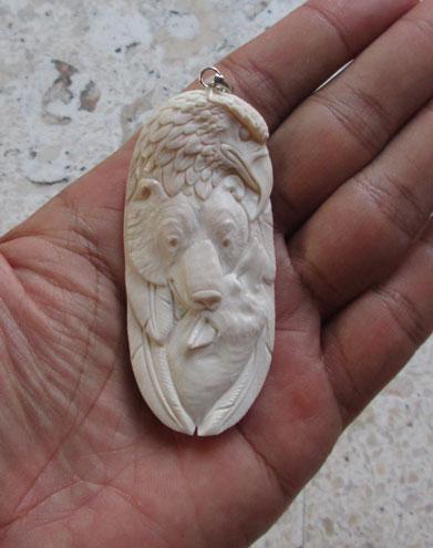 Eagle Bear Wolf Carved Bone Pendant
