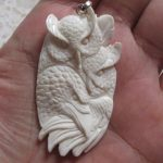 Owl Raven Carved Bone Pendant