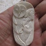 Owl Raven Wolf Carved Bone Pendant