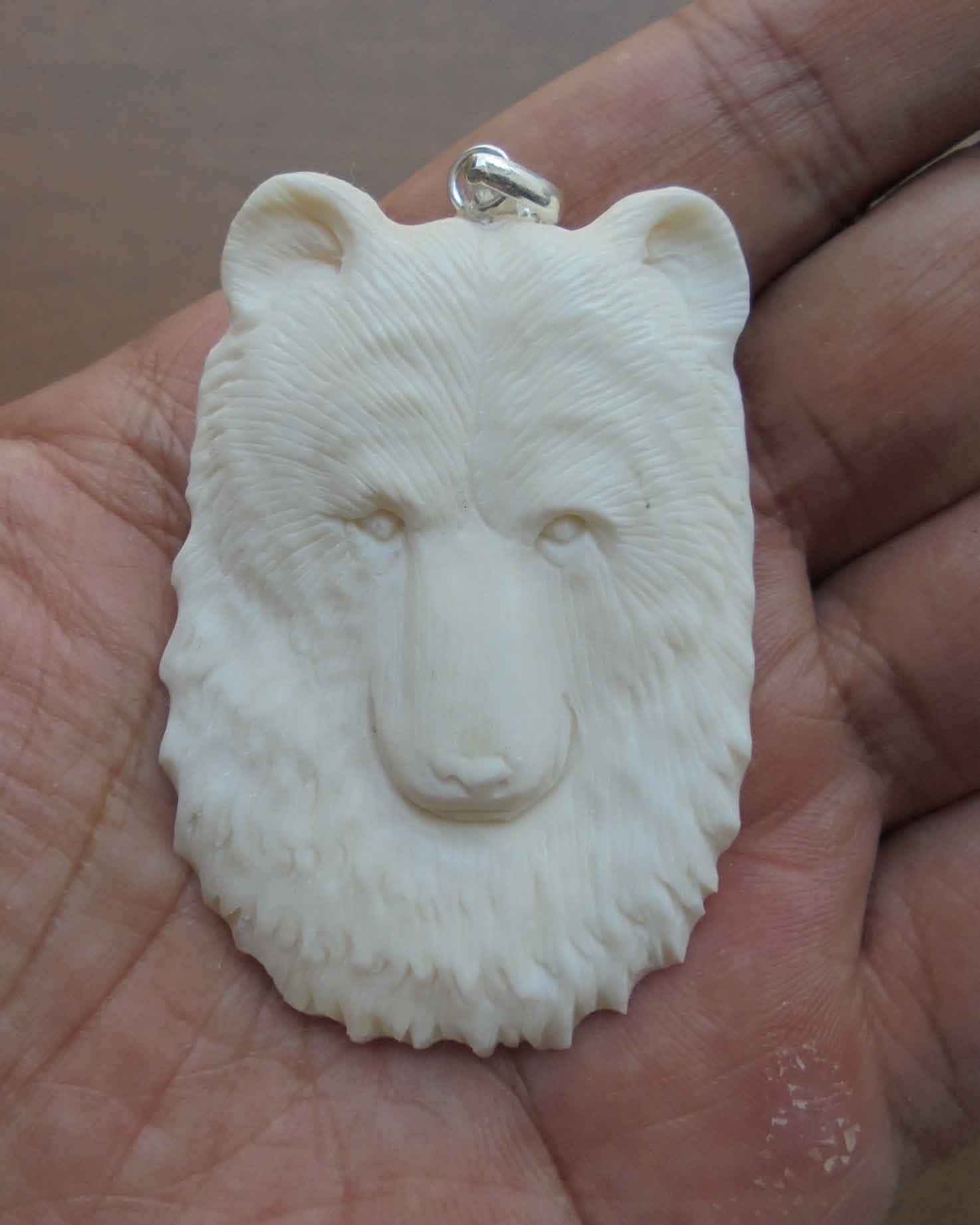 Bear Head Carved Bone Pendant