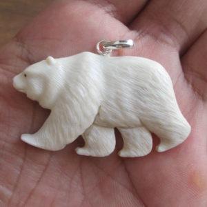 Bear Carved Bone Pendant