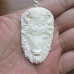 Bison Head Carved Bone Pendant