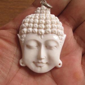 Buddha Face Carved Bone Pendant
