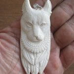 Egyptian Cat Carved Bone Pendant