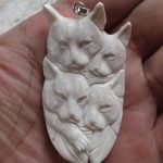 Cat Group Carved Bone Pendant