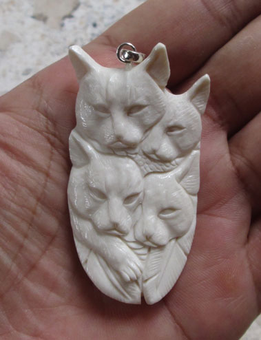 Cat Group Carved Bone Pendant