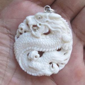 Dragon Carved Bone Pendant