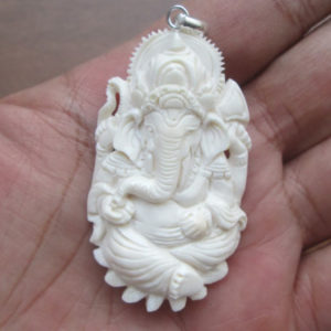 Ganesha Carved Bone Pendant