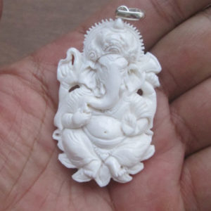 Ganesha Carved Bone Pendant