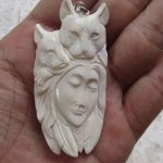 Goddess Cats Carved Bone Pendant