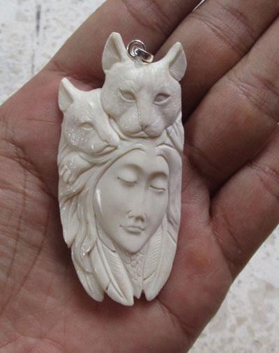 Goddess Cats Carved Bone Pendant