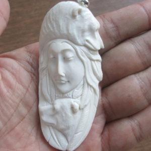 Goddess Bears Carved Bone Pendant