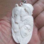 Goddess Bear Salmon Raven Carved Bone Pendant