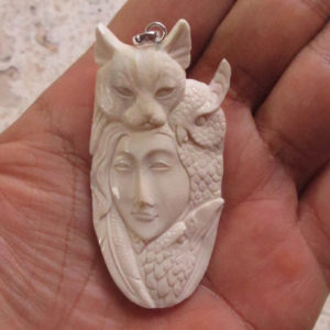 Goddess Cat Owl Raven Carved Bone Pendant