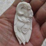 Owl Mask Goddess Goat Carved Bone Pendant