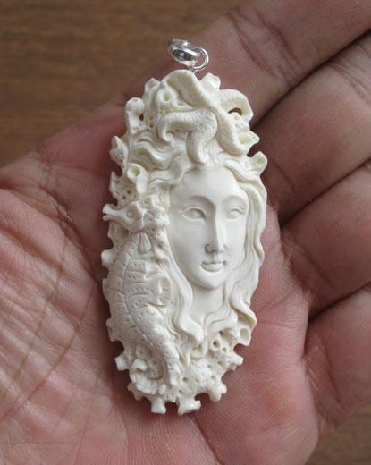 Goddess Seahorse Carved Bone Pendant