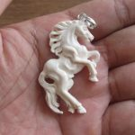 Horse Group Carved Bone Pendant