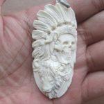 Indian Skull Bison Carved Bone Pendant