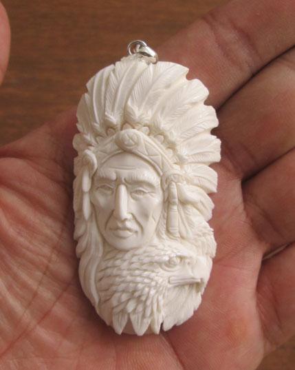 Indian Eagle Carved Bone Pendant
