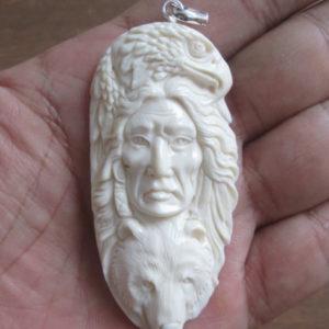 Indian Eagle Bear Carved Bone Pendant