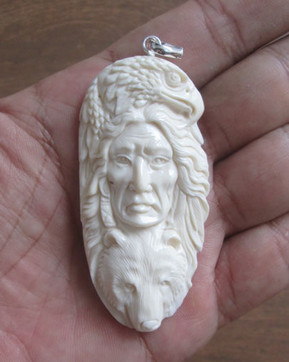 Indian Eagle Bear Carved Bone Pendant