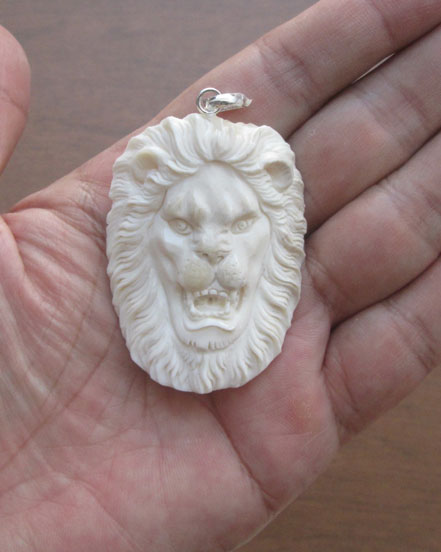 Lion Head Carved Bone Pendant