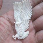 Owl Carved Bone Pendant