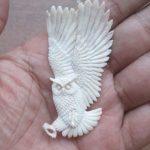 Owl Carved Bone Pendant