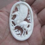 Pegasus Carved Bone Pendant
