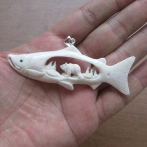 Bear Inside Salmon Carved Bone Pendant