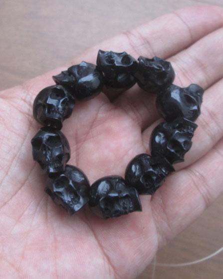 Carved Skull Horn Bead