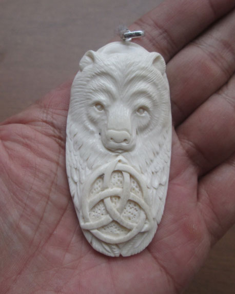 Bear Celtic Carved Bone Pendant