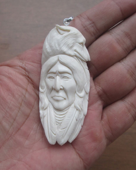 Indian Wolf Carved Bone Pendant