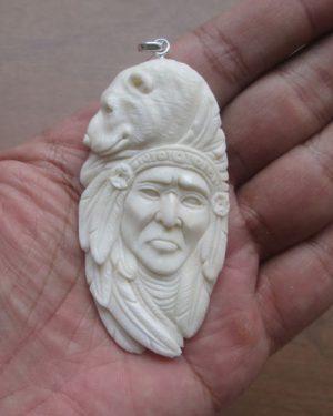 Indian Bear Carved Bone Pendant