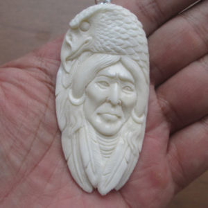 Indian Eagle Carved Bone Pendant