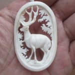 Deer Carved Bone Pendant