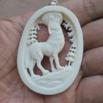 Wolf Carved Bone Pendant