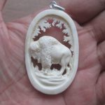 Bison Carved Bone Pendant
