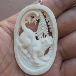 Cougar Carved Bone Pendant