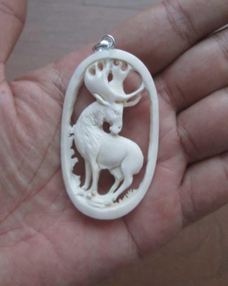 Moose Carved Bone Pendant