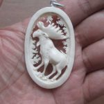 Moose Carved Bone Pendant